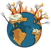 Wildfire på planeten jorden vektor