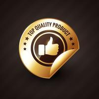högkvalitativ produkt med tummen upp guld etikett design vektor