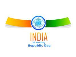 Tagesauslegung der indischen Republik im weißen Hintergrund isoliert