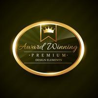 vacker prisvinnare gyllene etikett emblem vektor