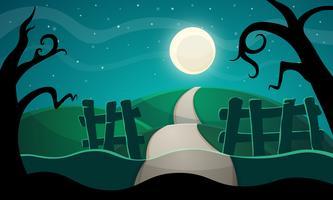 Halloween illustration. Stjärna, väg, träd.