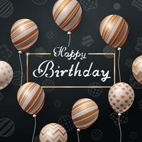 Grattis på födelsedagen. Vacker mörk mall. vektor