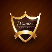 Kronenart Abzeichen Design mit Gewinner Text Vektor