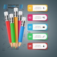 Bleistift, Bildungssymbol. Geschäftsinfografik. vektor