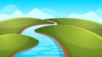 Landskapstecknad, illustration. Flod, sol, kulle.