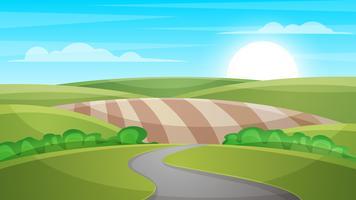Tecknad landskaps illustration. Sol. moln, kulle. vektor
