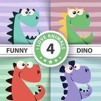 Nette Dinoillustration. Vier Artikel. vektor