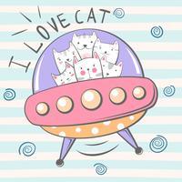 Söt, coolt, söt, rolig, galen, vacker kattkaraktär. Ufo illustration.