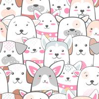 Tiere, Hund - süßes, lustiges Muster. vektor