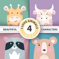 Stellen Sie Tierillustrationsgiraffe, Kuh, Waschbär, Bär ein
