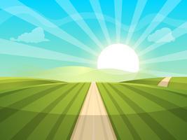 Tecknad landskaps illustration. Sol. väg, moln, kulle.