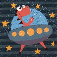 Netter, cooler, hübscher, lustiger, verrückter, schöner Dino-Charakter. UFO-Darstellung. vektor