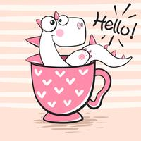 Söt dino med kopp te