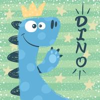 Söt dino tecken. Princess illustration.