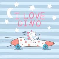 Süß, cool, hübsch, witzig, verrückt, schöner Dino im Auto.