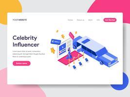 Målsidans mall av Celebrity Influencer Illustration Concept. Isometrisk plattformkoncept för webbdesign för webbplats och mobilwebbplats. Vektorns illustration