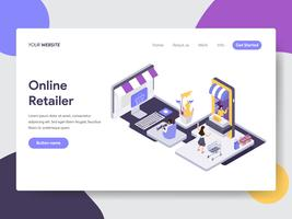 Målsida mall av Online Retailer Illustration Concept. Isometrisk plattformkoncept för webbdesign för webbplats och mobilwebbplats. Vektorns illustration vektor