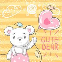 Gullig björn med luftballong.