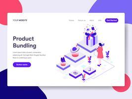 Målsida mall för produkt Bundling Illustration Concept. Isometrisk plattformkoncept för webbdesign för webbplats och mobilwebbplats. Vektorns illustration