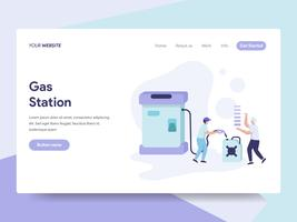 Målsida mall för bensinstation illustration koncept. Isometrisk plattformkoncept för webbdesign för webbplats och mobilwebbplats. Vektorns illustration