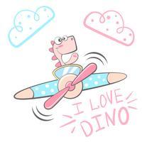 Tecknade Dino-tecken. Flygplan illustration.