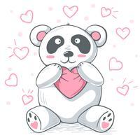 Söt teddy panda kramar kärlek. vektor
