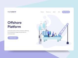 Målsida mall för Offshore Platform Illustration Concept. Isometrisk plattformkoncept för webbdesign för webbplats och mobilwebbplats. Vektorns illustration
