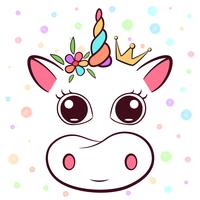 Süße Kuh, Cowicorn-Figuren. Idee für Print-T-Shirt.
