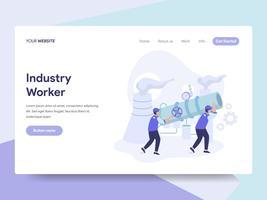 Målsida mall Industrial Worker Illustration Concept. Isometrisk plattformkoncept för webbdesign för webbplats och mobilwebbplats. Vektorns illustration vektor