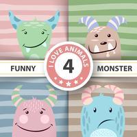 Ställ söt monster. Fyra objekt.