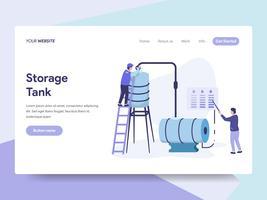 Målsida mall för Oil Storage Tank Illustration Concept. Isometrisk plattformkoncept för webbdesign för webbplats och mobilwebbplats. Vektorns illustration