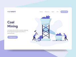 Målsida mall av Coal Mining Illustration Concept. Isometrisk plattformkoncept för webbdesign för webbplats och mobilwebbplats. Vektorns illustration