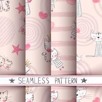 Liten prinsessa - Kitty sömlöst mönster vektor