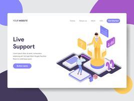 Målsida mall för Live Support Illustration Concept. Isometrisk plattformkoncept för webbdesign för webbplats och mobilwebbplats. Vektorns illustration