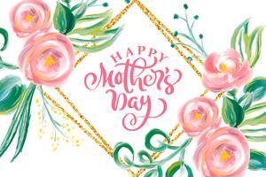 Glad mödrar dags hand bokstäver text med vackra blommor.