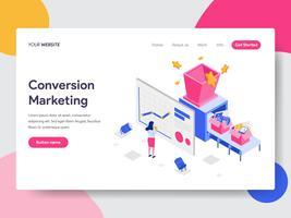 Målsida mall för koncept för konvertering marknadsföring illustration. Isometrisk plattformkoncept för webbdesign för webbplats och mobilwebbplats. Vektorns illustration