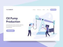 Målsida mall för oljepump Produktion Illustration Concept. Isometrisk plattformkoncept för webbdesign för webbplats och mobilwebbplats. Vektorns illustration