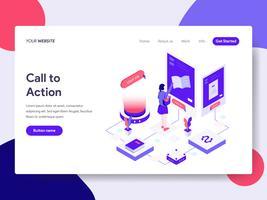 Målsida mall för Call to Action Illustration Concept. Isometrisk plattformkoncept för webbdesign för webbplats och mobilwebbplats. Vektorns illustration