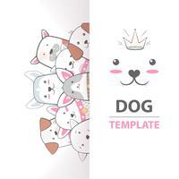 Nette, coole, hübsche, lustige, verrückte, schöne Hundeschablone. vektor