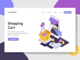 Målsida mall för Online Tracking Illustration Concept. Isometrisk plattformkoncept för webbdesign för webbplats och mobilwebbplats. Vektorns illustration