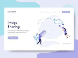 Målsida mall för bilddelning illustration koncept. Isometrisk plattformkoncept för webbdesign för webbplats och mobilwebbplats. Vektorns illustration