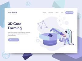 Målsida mall för 3D Core Forming Illustration Concept. Isometrisk plattformkoncept för webbdesign för webbplats och mobilwebbplats. Vektorns illustration vektor