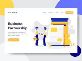 Målsida mall för affärs partnerskapsillustration. Plattformkoncept av webbdesign för webbplats och mobilwebbplats. Vektorns illustration
