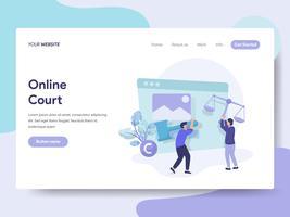 Målsida mall för Online Court Illustration Concept. Isometrisk plattformkoncept för webbdesign för webbplats och mobilwebbplats. Vektorns illustration