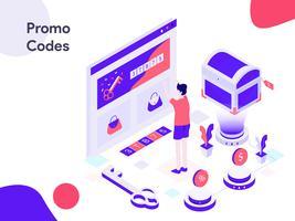 Online Promo Codes Isometric Illustration. Modernt plattdesign stil för webbplats och mobil website.Vector illustration