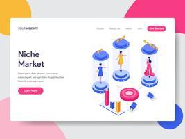 Landningssidemall av Niche Market Isometric Illustration Concept. Isometrisk plattformkoncept för webbdesign för webbplats och mobilwebbplats. Vektorns illustration
