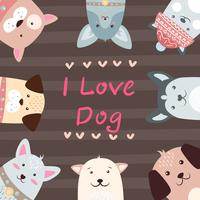 Nette, lustige, hübsche Hundecharaktere. vektor