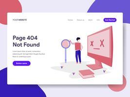 Zielseitenvorlage für 404-Fehler. Modernes flaches Konzept des Entwurfs des Webseitendesigns für Website und bewegliche Website. Vektorillustration