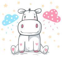 Söt teddy behemoth, flodhäst - tecknade figurer. vektor