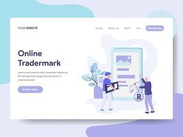 Landing-Page-Vorlage für Online-Copyright- und Trademark-Illustrations-Konzept. Isometrisches flaches Konzept des Entwurfes des Webseitendesigns für Website und bewegliche Website. Vektorillustration